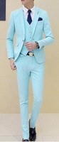 Wholesale Groom Suits For Beach Wedding - Tailor Made Mint Green Wedding Suits For Men Slim Fit Groom Prom Blazer 3 Piece Tuxedo Beach Summer Jacket +Pant +Vest Terno
