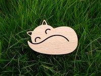 Wholesale hair board - hair sleeping and smile fox brooch brooch hair wood plastic composite board wood tassel