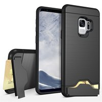 Wholesale Blue Grass Covers - Dual Layer Card Slot Case For Samsung Galaxy S9   S9 Plus Cover Silicone Bumper Shockproof Armor Hard Back With Kickstand