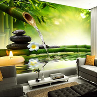 Wholesale country living interiors - Arkadi Custom 3D Photo Wallpaper Living Room TV Backdrop Green Bamboo Flowing Water Natural Landscape Interior Decoration Wall Painting