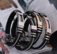 herren schwarze silikon armbänder großhandel-Designer Schmuck Herren Armbänder Edelstahl Schmuck Silikon Schwarz Armband Einfache Gummi Charm Pulsera Hombre neue Mode