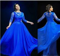 vestido de chiffon com mola mais tamanho venda por atacado-Projeto Formal Azul Royal Sheer Evening Dresses Com 3/4 Sleeved Long Prom Vestidos UK Plus Size vestidos de baile Para Mulheres Gordas
