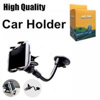 braçadeira de telefone móvel universal venda por atacado-Tubo macio Car Mount Universal Windshield Painel Do Telefone Móvel Titular Do Carro Suporte de 360 Graus de Rotação Do Carro com Forte Ventosa X braçadeira