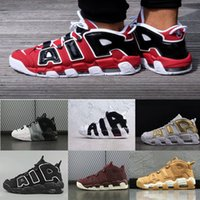 Wholesale More Splits - [With Box] Air More Uptempo SUPTEMPO Basketball Shoes OLYMPIC RELEASE Bulls Gold Varsity Maroon Black Mens Women Scottie Pippen Shoes xz128
