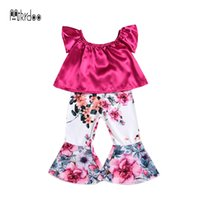 fondo rojo niño al por mayor-Mikrdoo 2018 Summer Cute Kids Baby Girl Clothes Set Top sin mangas con volantes florales Floral Flojo Bottoms 2PCS Outfit Toddler Sweet Suit