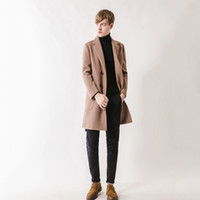 Wholesale men winter camel coat - Men Cashmere Coat Striped Winter Casual Men Wool Trench Double Botton Jackets Warm Pockets Overwear Camel Color Fashion Coat