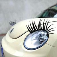 ingrosso auto decalcomania nera-All'ingrosso-Libero di trasporto 1 set = 2 pz 3D affascinante nero ciglia finte Eye Lash Sticker auto faro decorazione divertente decalcomania per scarabeo