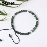 ingrosso pietre naturali agata blu-designer di braccialetti New Fashion Natural Agate Blue Sand Stone Beads Hip Hop 925 Silver Bead Rope Bracciale regolabile gioielli per le donne regalo