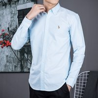 polo manga larga xl al por mayor-Camisa POLO de manga larga para hombre Otoño vestido de primavera camisa casual de POLO para hombre camisas de caballo pequeño camisa social de moda manga larga de negocios