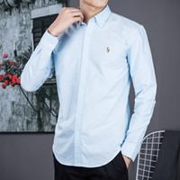 geschäft beiläufige männerhemden großhandel-Herren Langarm-Polo-Shirt Herbst Frühling Dress Shirt Herren Casual Polo kleines Pferd Hemden Mode Social Shirt Business Langarm