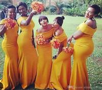 vestidos amarillos para damas de honor al por mayor-2018 Nuevo Amarillo Fuera del Hombro Vestidos de dama de honor Longitud del piso Satén elástico africano por encargo Maid of Honor Gown BM0178