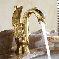 Wholesale arts swans online - High Grade Total Copper Water Tap Swan Shape Art Style Chrome Antique Taps Stopcock Shower Room Kitchen Faucets Eco Friendly ax jj