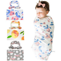 Wholesale free baby bunnies - Newborn Baby Swaddling Blankets with Bunny Ear Headbands Baby Floral Swaddle Wrap Blanket Hairband Set Baby Cotton wrap cloth Free Dhl BHB18