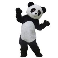 fantasia de mascote de panda cheia venda por atacado-Mascotshows Longo Pelúcia Panda Mascot Costume Para A Vida Adulta Full Body Bear Character Outfits Para Festas de Aniversário do miúdo