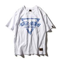 üç renkli bluz toptan satış-Üç Renk Erkek Gevşek Üçgen Baskı T-shirt Yüksek Sokak Kaykay Çift Gevşek Kısa Kollu Yaz Bluz Gömlek