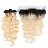 Wholesale platinum blonde bundles for sale - Group buy Two Tone Blonde Lace Frontal Closure With Bundles b Platinum Blonde Human Hair Bundles With Lace Frontal