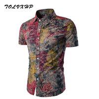 Wholesale flax clothing online - New Brand Clothing Fashion Shirt Male Flax Dress Shirts Slim Fit Turn Down Men Short Sleeve Mens Hawaiian Shirt Big Sizes