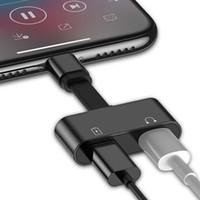 mejor cable cargador de iphone al por mayor-Adaptador de audio de la mejor calidad para iPhone 7 8 Plus X de carga / audio 2 en 1 Adaptador de cable de cargador para iPhone Conector Jack para auriculares Cable AUX