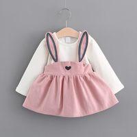 Wholesale pink twinset - new design baby girls autumn dress rabbit ear princess dress faux twinset design with long sleeve skirt kids suspender dress B11