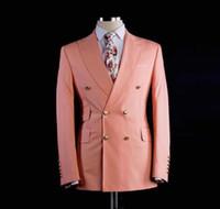 smoking rosa azul venda por atacado-Custom Made Noivo Smoking Groomsmen blush rosa Fino Ternos Fit Melhor Homem Terno De Casamento / Homens Ternos Noivo Noivo Desgaste