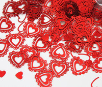 Wholesale Damask Table Decorations - Vintage wedding reception Table damask red heart Confetti Decoration engagement ruby 40th anniversary decorate kits