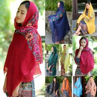 Wholesale wholesale linen summer scarves - Women Embroidered Shawl Cotton Linen Floral Cashmere Summer Beach Pashmina Travel Large Scarf Wrap 22 Colors LJJA20