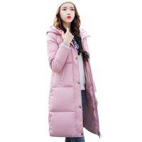 casaco de inverno novo para menina venda por atacado-2018 Novo Sólida Casaco de Inverno Mulheres Casaco Com Capuz De Algodão Acolchoado Parkas Longo Quente Suor Meninas Outwear Frio Feminino Para Baixo Casaco M-3XL S18101505