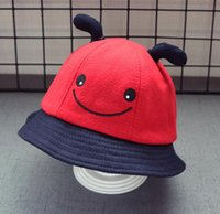 Wholesale New stingy brim hats kids hats caps happy face colors