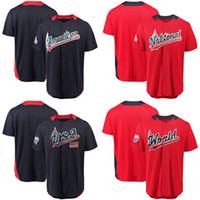 Wholesale world games - USA 2018 All-Star Game Baseball Jersey American National League Team World USA Baseball Jersey All Stitched Mens Custom navy red