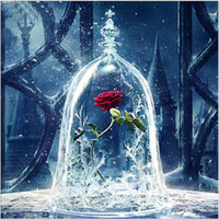 Wholesale home wall art painting for sale - 30 cm Rose in Glass Cover Full D Diamond Painting Kit Decoración Del Hog Home Decor Wall Art Square Diamond Craft Supplies