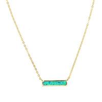 Wholesale blue fire opal pendants for sale - Group buy 100 sterling silver opal gemstone jewelry blue white fire opal simple geometric bar charm minimal silver necklaces