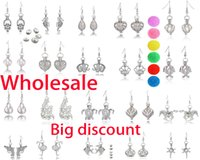 Wholesale locket earrings resale online - More Than Styles Pearl Cage Earring Jewelry Findings Cage Pendant Essential Oil Diffuser Locket Earring Include Pearl and Cotton Ball