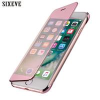 iphone 5s anzeigen flip cover großhandel-Weiche flip case für iphone 6 s 6 s 7 8 plus x 10 5 5 s se 6 plus 6 s plus 7 plus 8 plus luxus silikon smart view 360 volle abdeckung