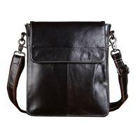 Wholesale ipad vintage - Vintage Genuine Leather Bag Men's Messenger Bag Shoulder Bags Vertical Flap Business&Casual Zipper For Ipad Dark Coffee