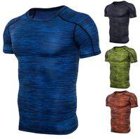 ingrosso muscolo tee maschio-T-shirt da uomo sportivo solido solido Tee 4 colori manica corta da running slim T-shirt in cotone elasticizzato