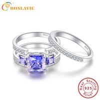 свадебные наборы из танзанита оптовых-BONLAVIE 4Ct Created Tanzanite 925 Sterling Silver Engagement Rings 2Pcs Wedding Band Rings Set Women Bijoux Fine Jewelry