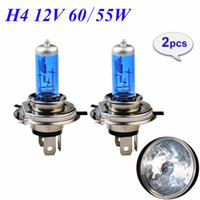 Wholesale Blue H4 - 1 Pair 12V 60 55W H4 Halogen Lamp 5000K HeadLight Bulb Xenon Dark Blue Glass Auto Headlight Super White FREE SHIPPING