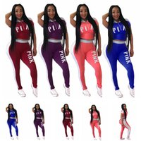 Wholesale maternity t clothes - Pink Women Outfit Summer Tracksuit Pink Letter Sportswear Short Sleeve T Shirt Shorts Pants Set Girls Gym Clothing Maternity Tops AAA452