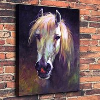 Wholesale traditional framed oil paintings resale online - Modern Abstract Animal Hand painted Oil painting Horse On Canvas Home Decor Wall Art Multi sizes Frame Option a138