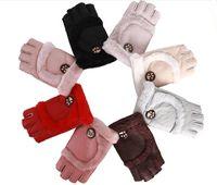 parmaksız sürme eldivenleri toptan satış-Yeni Varış Kadın Parmaksız Sıcak Eldiven Koyun Deri Yarım Parmak Eldiven Kış Eldivenler Dans Motosiklet Sürüş Için Ücretsiz Nakliye