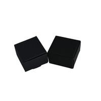 caixas de armazenamento de papel preto venda por atacado-4 * 4 * 2.5 cm 50 pçs / lote pequeno preto artesanal caixas de armazenamento de sabão caixa de embalagem de jóias de papel Kraft caixa de presente de casamento para festa DIY Craft