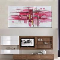 modern soyut akrilik boyama toptan satış-Nuh Sanat Büyük Soyut Pembe Duvar Sanat El Boyalı Oturma Odası Dekorasyon için Tuval Üzerine Modern Akrilik Yağ Ağrıları Çerçevesiz