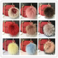 Wholesale 15cm quot Real Genuine raccoon Fur Pom Pom Ball Bag charm Car phone Keychain holiday gift