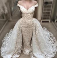 Wholesale Detachable Shirt Lace Wedding Dress - Vintage Lace Mermaid Wedding Dress With Detachable Over-Skirts Charming Off Shoulder V-Neck Wedding Gowns Beaded Applique Bridal Dresses
