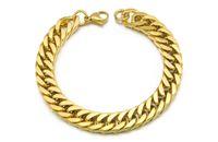 uzun mens zinciri toptan satış-Altın Kaplama Paslanmaz Çelik Bilezik Curb Küba Zincir Erkek Mücevherat Moda, 8.7