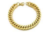 pulseiras venda por atacado-Banhado A ouro de Aço Inoxidável Pulseiras Curb Cadeia Cuban Mens Jóias Moda, 8.7