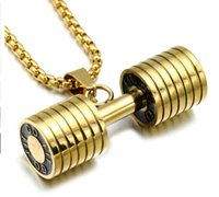 Wholesale titanium necklaces for sports - Men Gold Color Titanium Stainless Steel GO FIT Dumbbell Gym Fitness Barbell Pendant Necklaces For Men Sport Jewelry