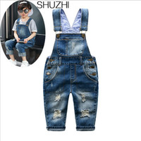 6db56a281274 SHUZHI New Spring Distrressed Kids Jeans Hole Baby Boy Girl Jeans jumpsuit  Kids Denim Overalls Fashion Children Suspenders Jeans Y18103008