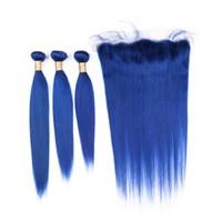 fermetures frontales en dentelle achat en gros de-Vierge brésilienne bleu foncé de paquets de cheveux humains traite avec oreille à l'oreille Frontals Straight Pure Blue 13x4 Full Lace Front de fermeture avec Weaves
