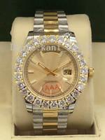 espelho marcas relógios venda por atacado-Novos Produtos Top de Luxo Marcas de Alta Qualidade Movimento Automático Grande Diamante Relógio de Mostrador de Data Dupla Mostrador de 41mm Sapphire Espelho dos homens Relógio